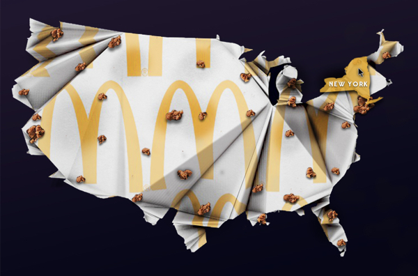 Brit Moran/Fast Food Map Outbreak Interactive Infographic/2013